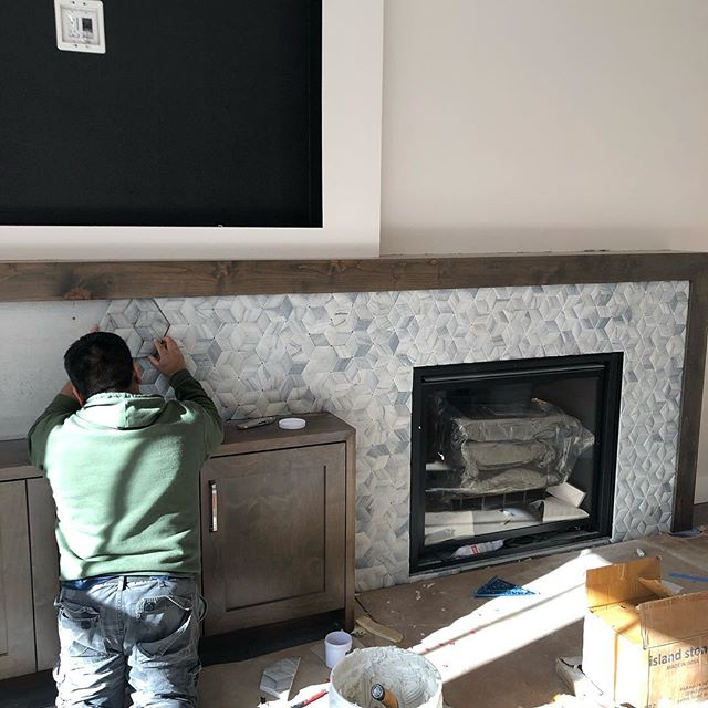 Remodel in full swing! Final stretch!  #boise #northend #interiordesign #interiors #fireplace #hood #tile