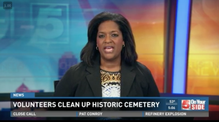 CLICK IMAGE FOR VIDEO. Volunteers cleaned up Greenwood Cemetery in Hillsdale. It's the resting place of famous African American leaders, musicians and athletes.
