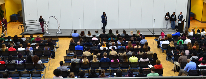 Jonathan Smith, Ph.D., special assistant to the president for diversity and community engagement at Saint Louis University, addresses the students.  Submitted photo