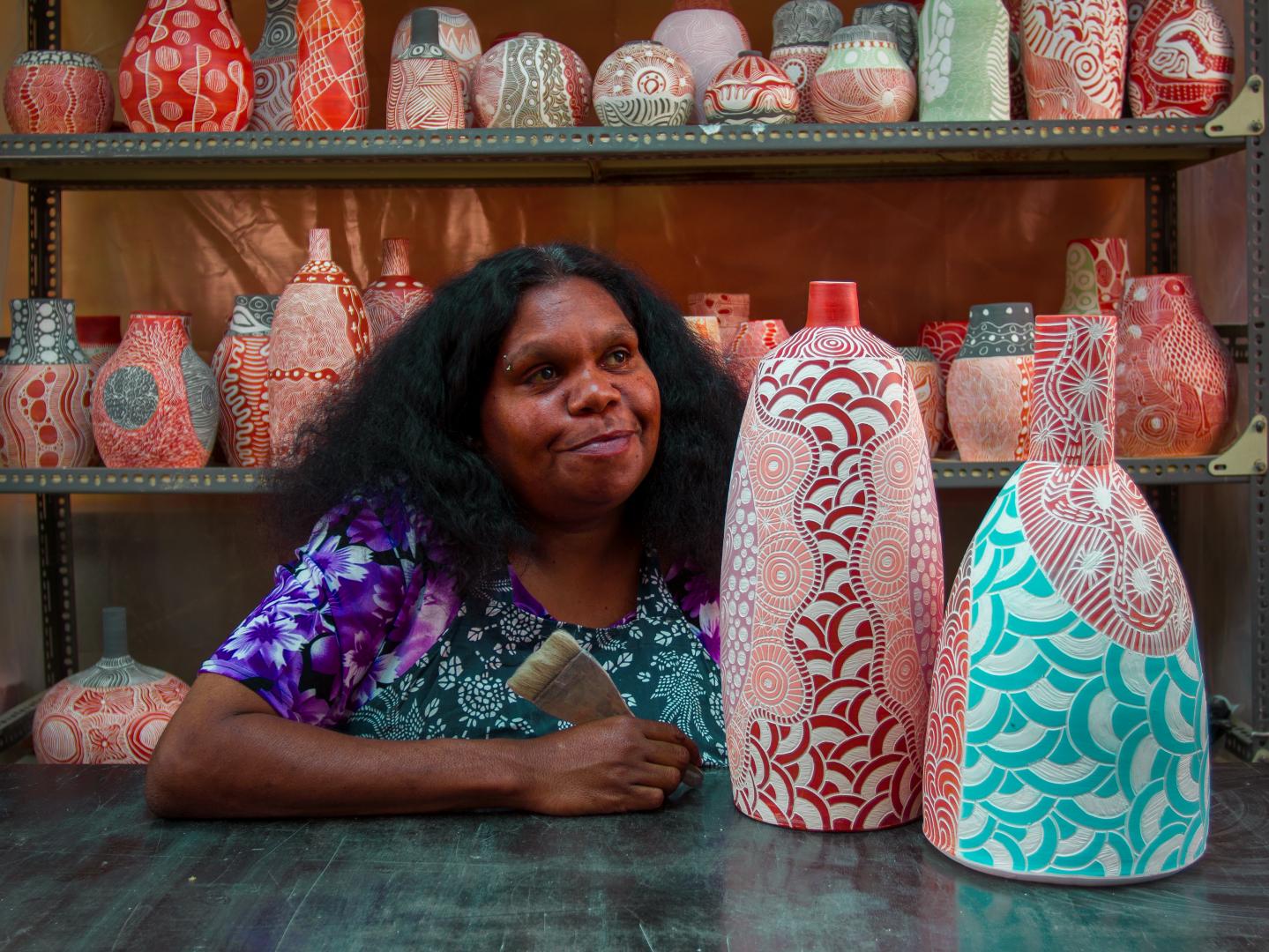TjimPuna Williams in the Ernabella ARTS ceramics studio