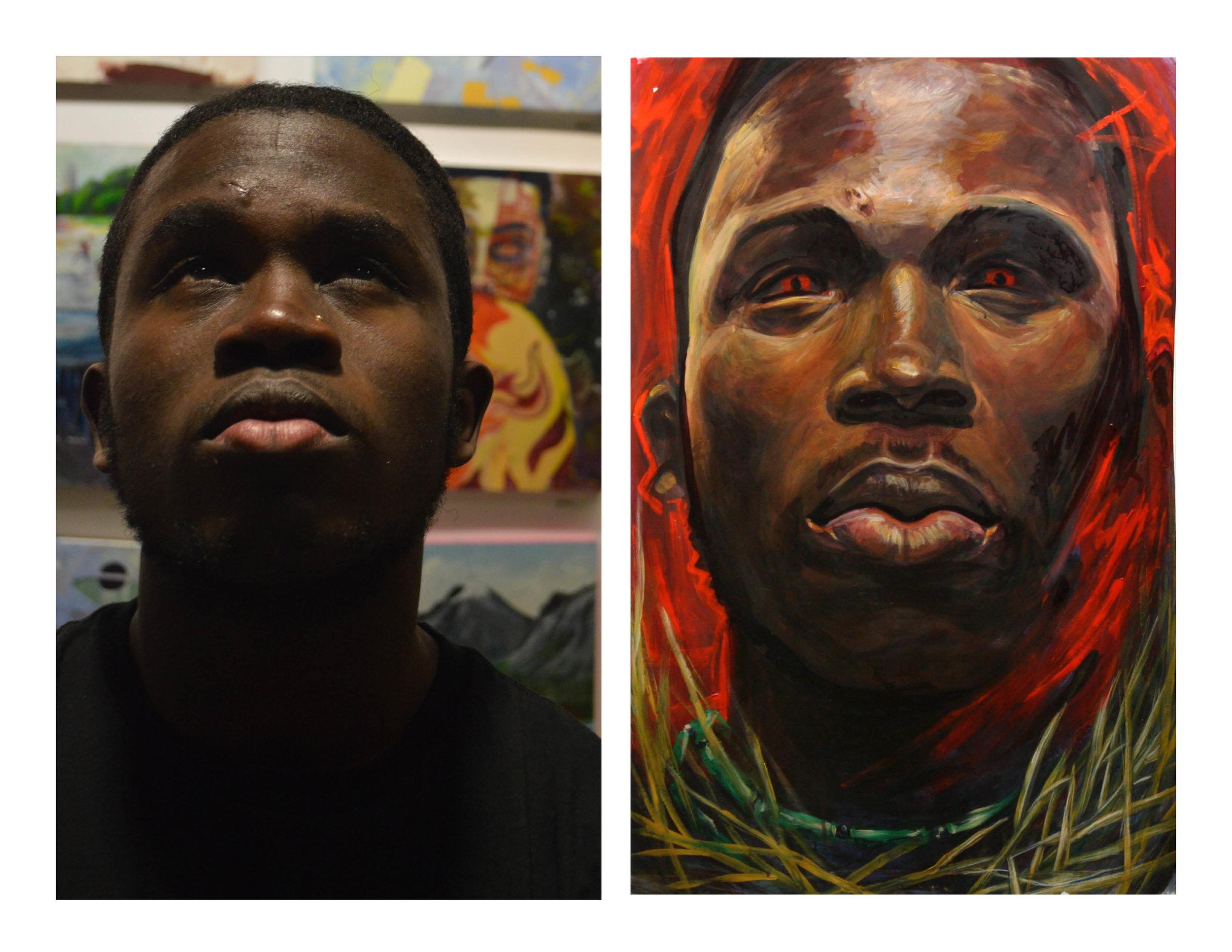 """Samuel as Ogun"" Acrylic on paper, 26""x38"" $700"