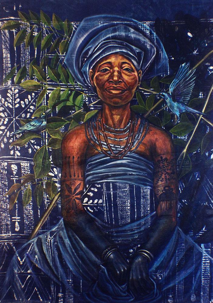 """""""Iya Mapo""""Acrylic on Guinea Brocade 45"""" x68"""""""