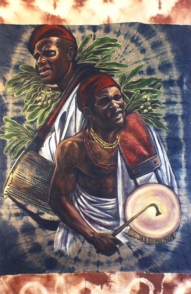 """Orisa Ayan"" Acrylic on Guinea Brocade 48"" x 77"""
