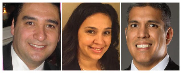 (From left to right) Jorge A. Triado, Irene Salazar, and Diego De Lama are all in the running to win selection to the vacant seat on the Norwalk=La Mirada Unified School District Board of Education.