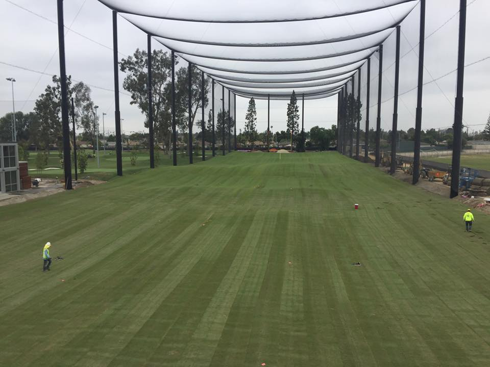 Installation of the driving range turf was completed earlier this month at the Don Knabe Golf Center.