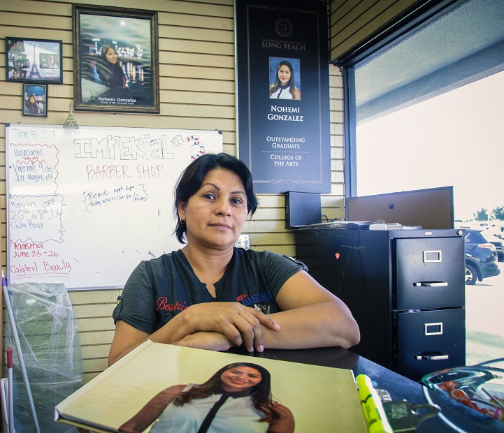 Beatriz Gonzalez, the mother of slain Cal State Long Beach student Nohemi Gonzalez,is the owner of three barber shops. One just opened in Norwalk. Photo | William Odis Martin
