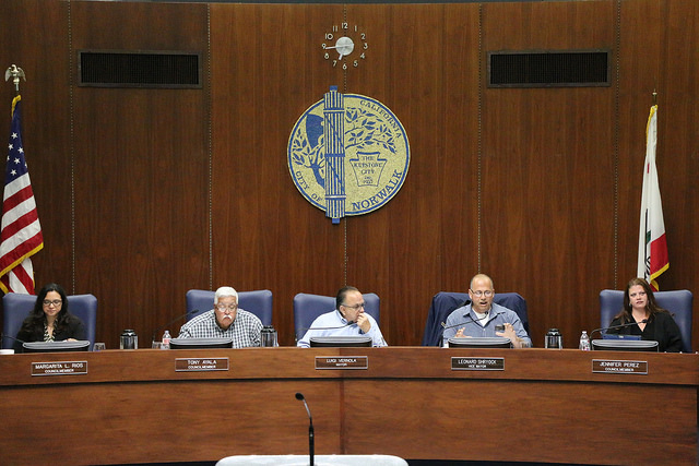 Vice Mayor Leonard Shryock and Councilwoman Margarita Rios clashed over the drawn-out budget talks. Photo | City of Norwalk