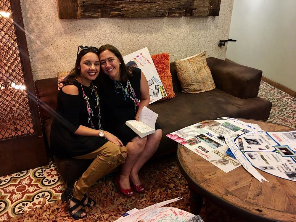 Bianca Farina, left, with 'Freedom Writers' teacher Erin Gruwell.