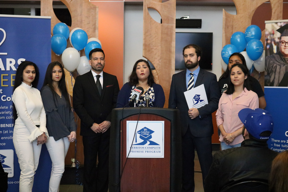 Cerritos College officials held a press conference to announce that students can now receive two years of free tuition. Photo by Alex Dominguez