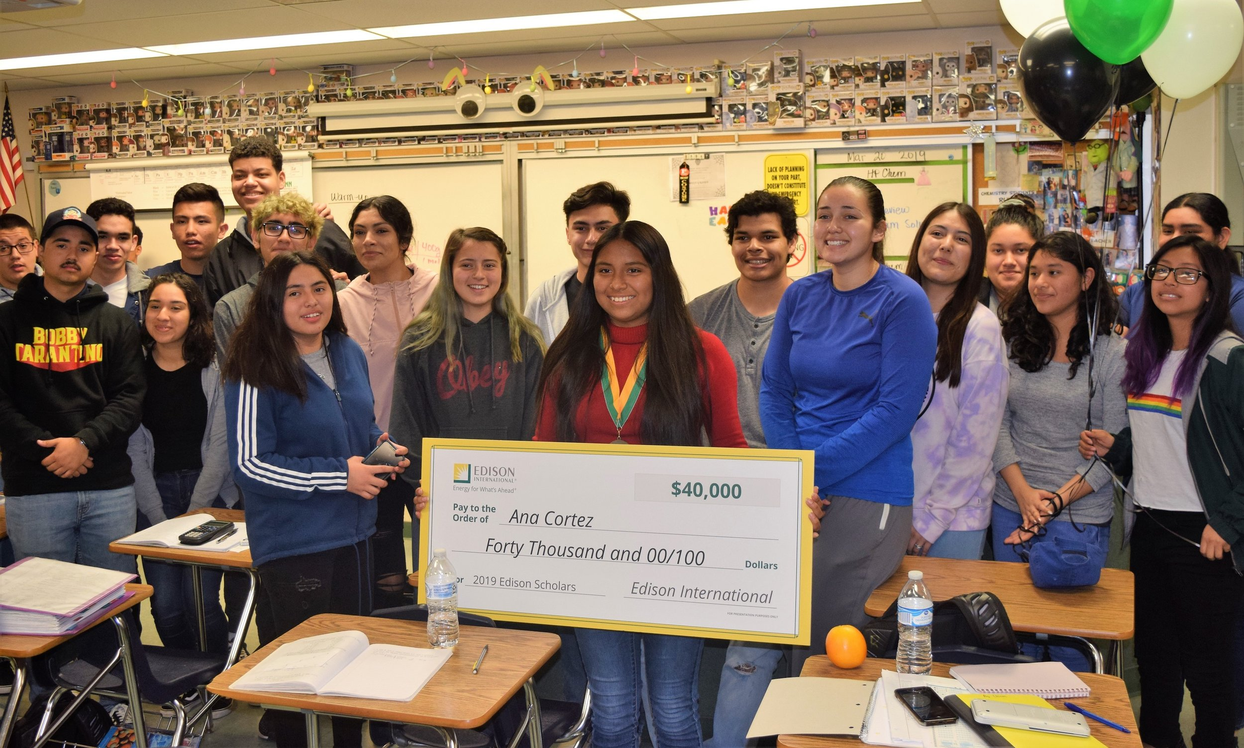 Pioneer High School senior Anna Cortez was surprised with a $40,000 Edison scholarship while sitting in her AP Chemistry class on March 20, surrounded by friends, classmates and teachers. She is one of 30 Southern California students selected for the prize.