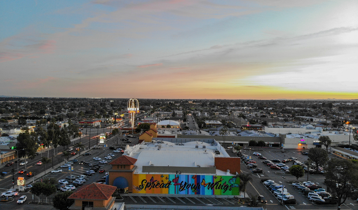 """The """"Spread Your Wings"""" mural at Norwalk Town Square. Photo courtesy NewMark Merrill Companies Inc."""