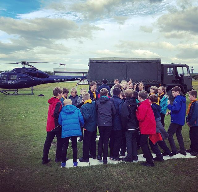 The local Scouts on the helicopter pad yesterday evening! #scouts #community #helicopter #army #airfield #aviation #morpeth #northumberland