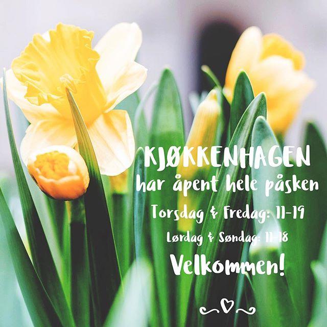 KJØKKENHAGEN har åpent hele påsken Torsdag & Fredag: 11-19 Lørdag & Søndag: 11-18 Velkommen!
