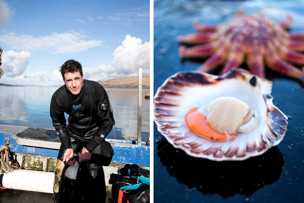Guy Grieve hand dives for scallops. Delicious. magazine