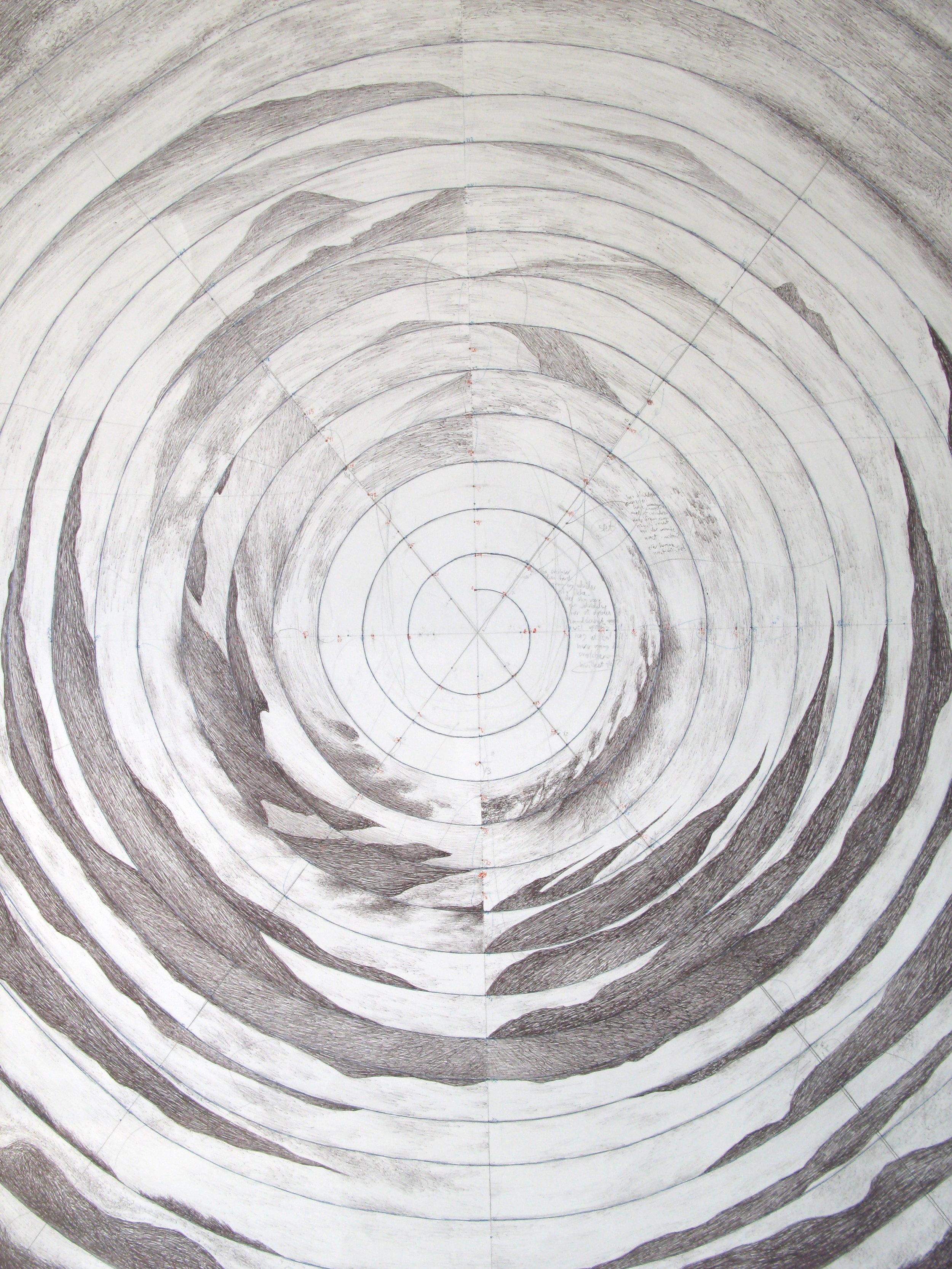 Uden titel. (landskabsserie 2/4) / Untitled. (landscape series 2/4)  Kuglepen og blyant på papir / Ballpen and pencil on paper). 98,4x74,8cm. 2013