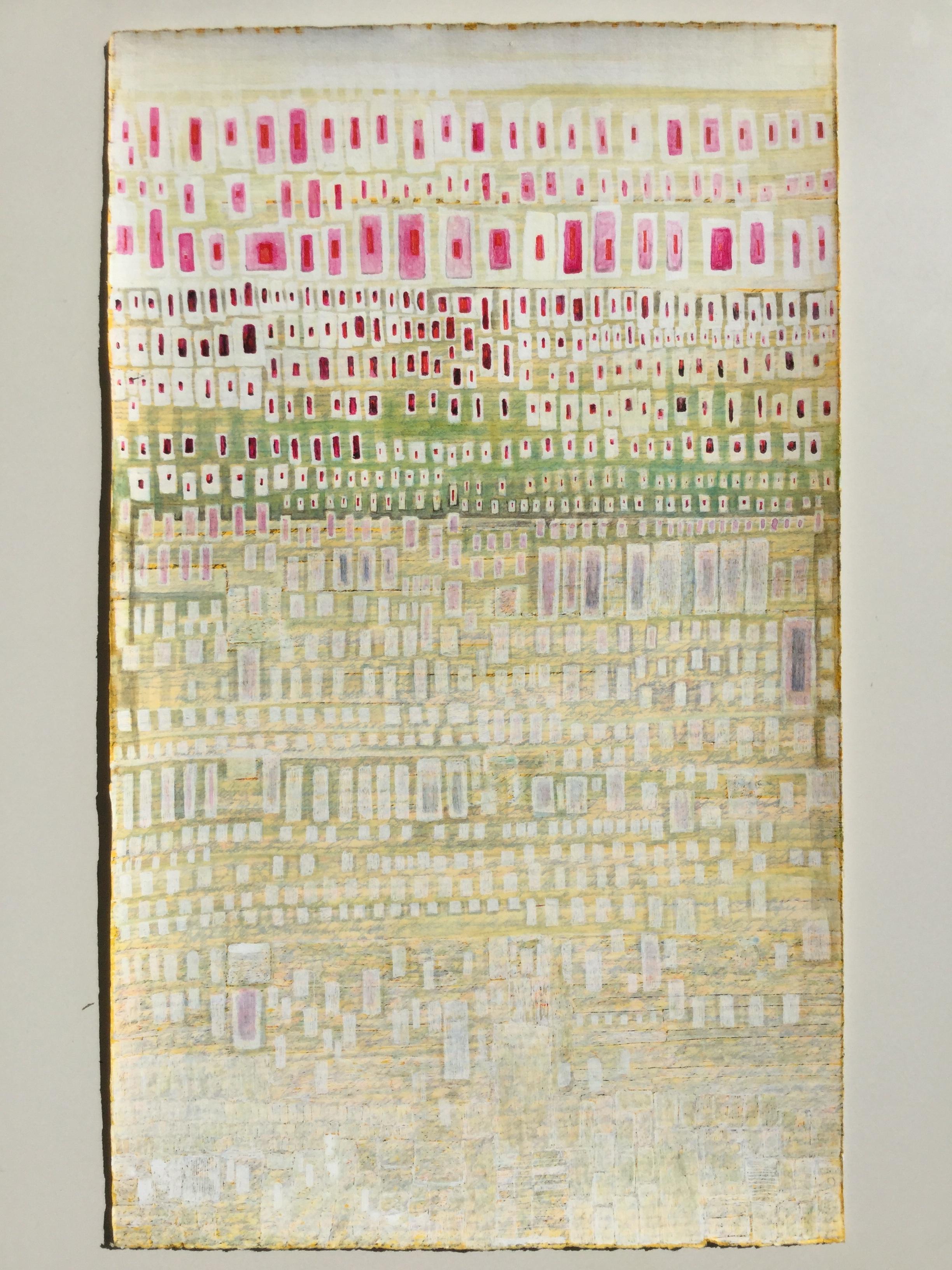 Lynjustits / Swift justice (4)  Gouache, akvarel, rettelak og kuglepen på papir / gouache, watercolor, correction paint and ballpen on paper. 63x38cm. 2017.