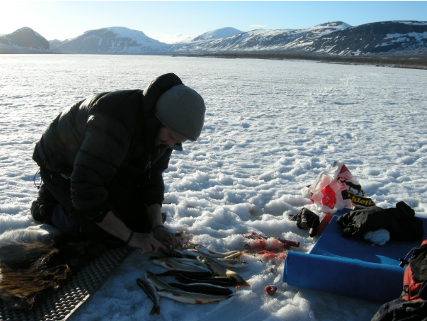 The Bush Tannery was rediscovered in the Arctic wilderness of Lapland Sweden in the middle of Winter, 2015 (Pictured: Josh McLean - 'Ice fishing')