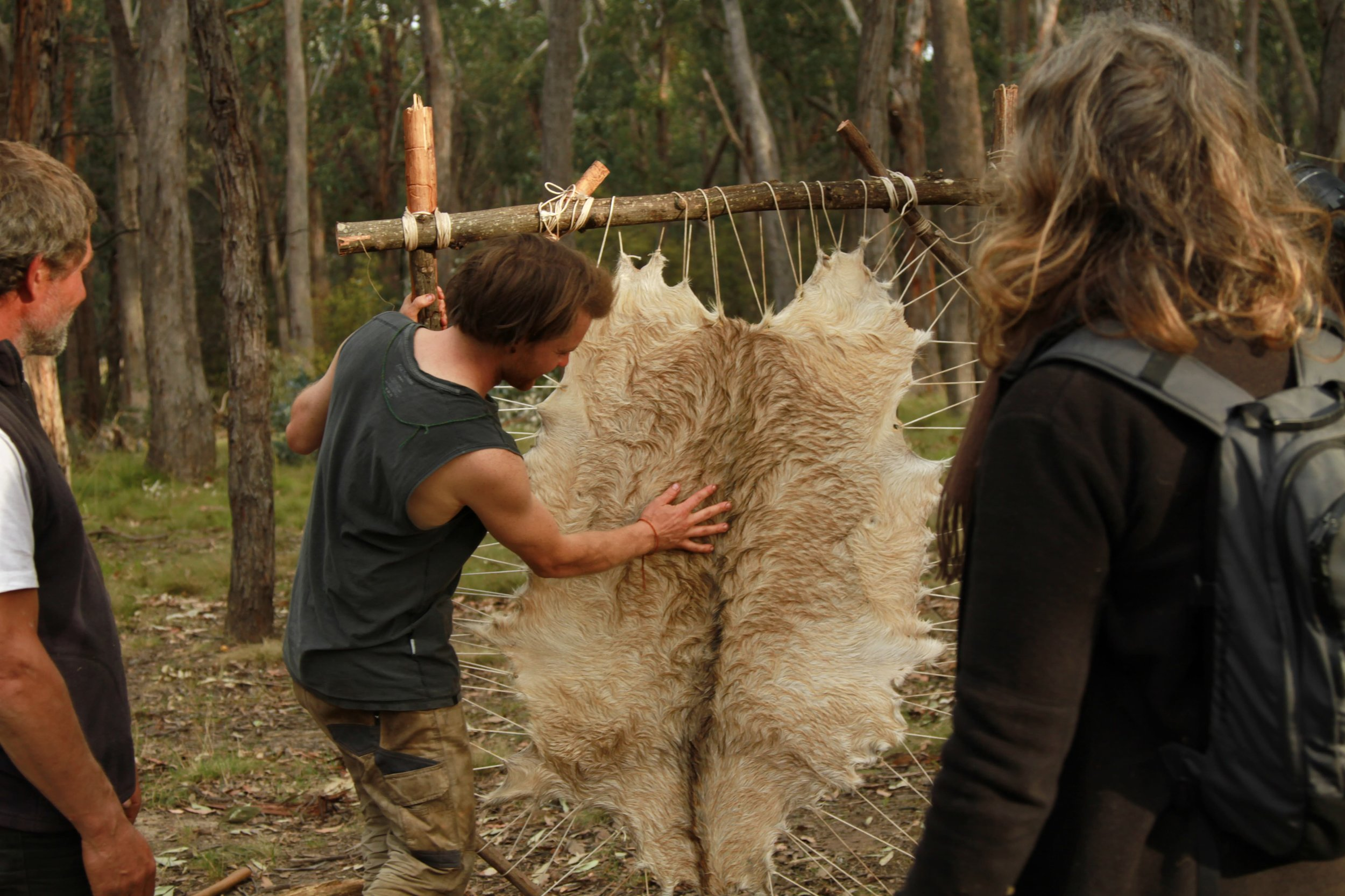 Pictured: Your facilitator Josh McLean standing the frame up after participants took turns at stringing up the wild goat hide that they had the chance to prepare for transforming into a furskin rug.