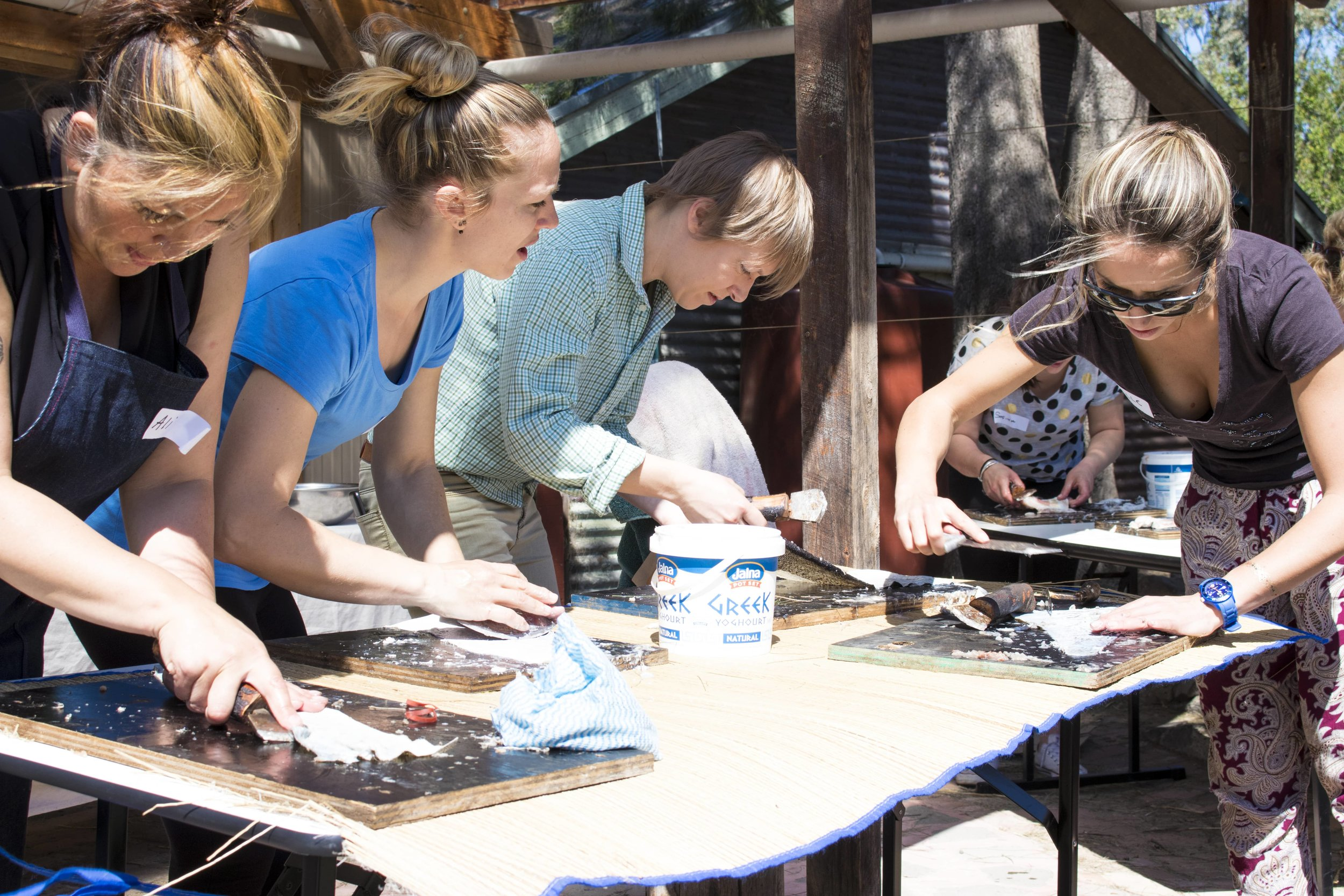 Picture: Our beautiful group from the last fish leather tanning workshop @ Ceres, Melbourne, VIC