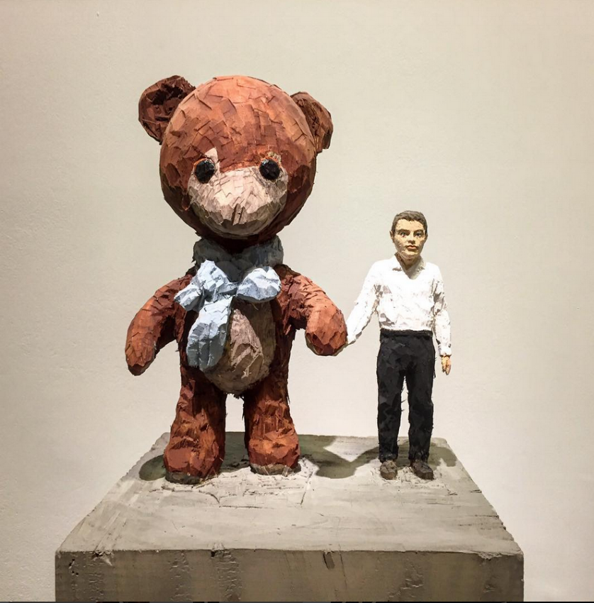 Stephan Balkenhol 'Teddy Bear and Man'. (Image courtesy of The Art Partners)