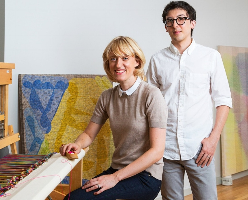 Portraits of artists Sarah Parke and Mark Barrow, courtesy of Architectural Digest