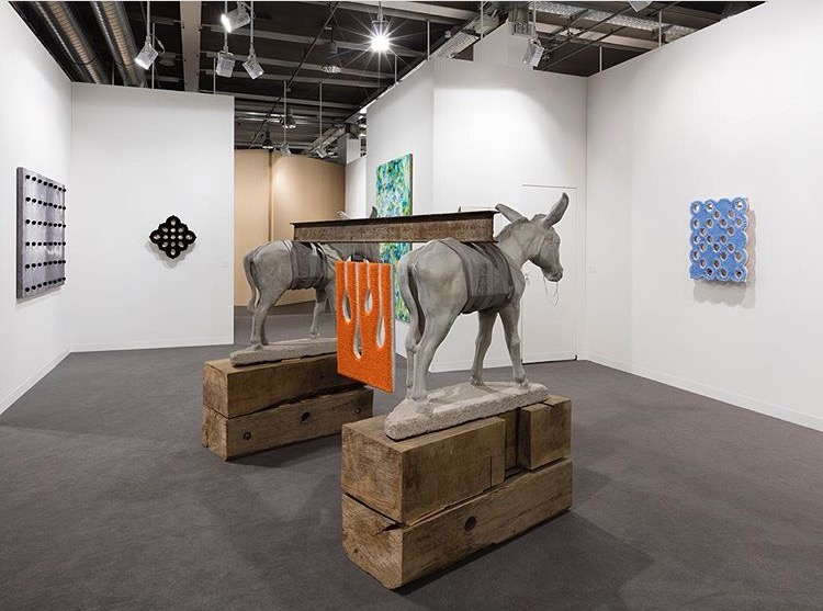 Installation view of works by  Donald Moffett  and  Piere Polo Calzolari  (image courtesy of  Marianne Boesky )