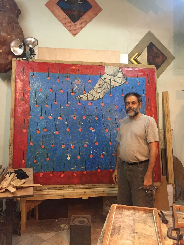 Cuban Artist Angel Ramires in his studio