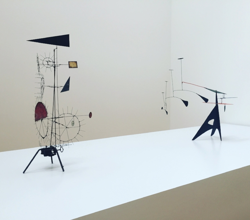 Installation view of sculptures by  Jean Tinguely  and  Alexander Calder