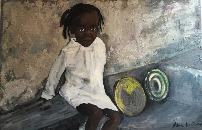 'Children of Senegal. Girl selling' by Ana Maria Martinez