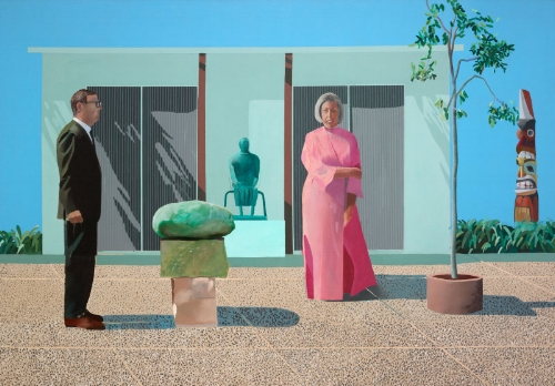 David Hockney ,  English, born 1937 , American Collectors (Fred and Marcia Weisman) 1968, Restricted gift of Mr. and Mrs. Frederic G. Pick © David Hockney