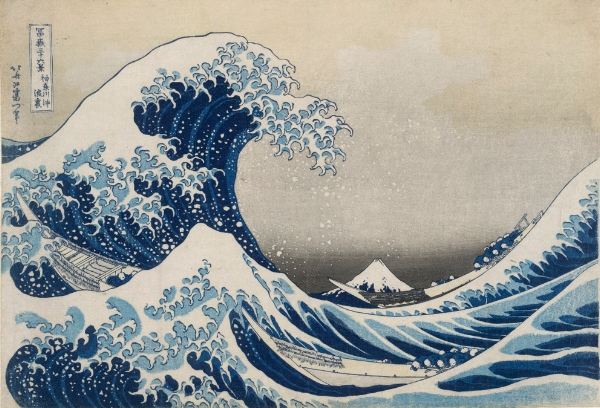 Under the wave off Kanagawa (The Great Wave)  from Thirty-six views of Mt Fuji. Colour woodblock, 1831. Acquired with the assistance of the Art Fund