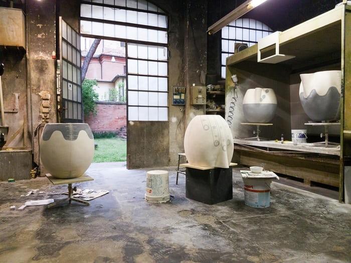 Emma Hart's giant jug 'heads' take shape in the Faenza studio where she learned Italian techniques. Photograph: Courtesy of the artist