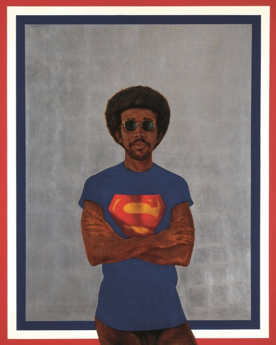 Barkley L. Hendricks  Icon for My Man Superman (Superman Never Saved any Black People – Bobby Seale)  1969; Collection of Liz and Eric Lefkofsky © Estate of Barkley L. Hendricks.  Courtesy of Jack Shainman Gallery, New York. Superman S-Shield © & ™ DC Comics.
