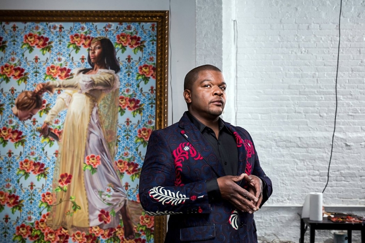 Kehinde Wiley at his Williamsburg, Brooklyn, studio. Credit Chad Batka for The New York Times