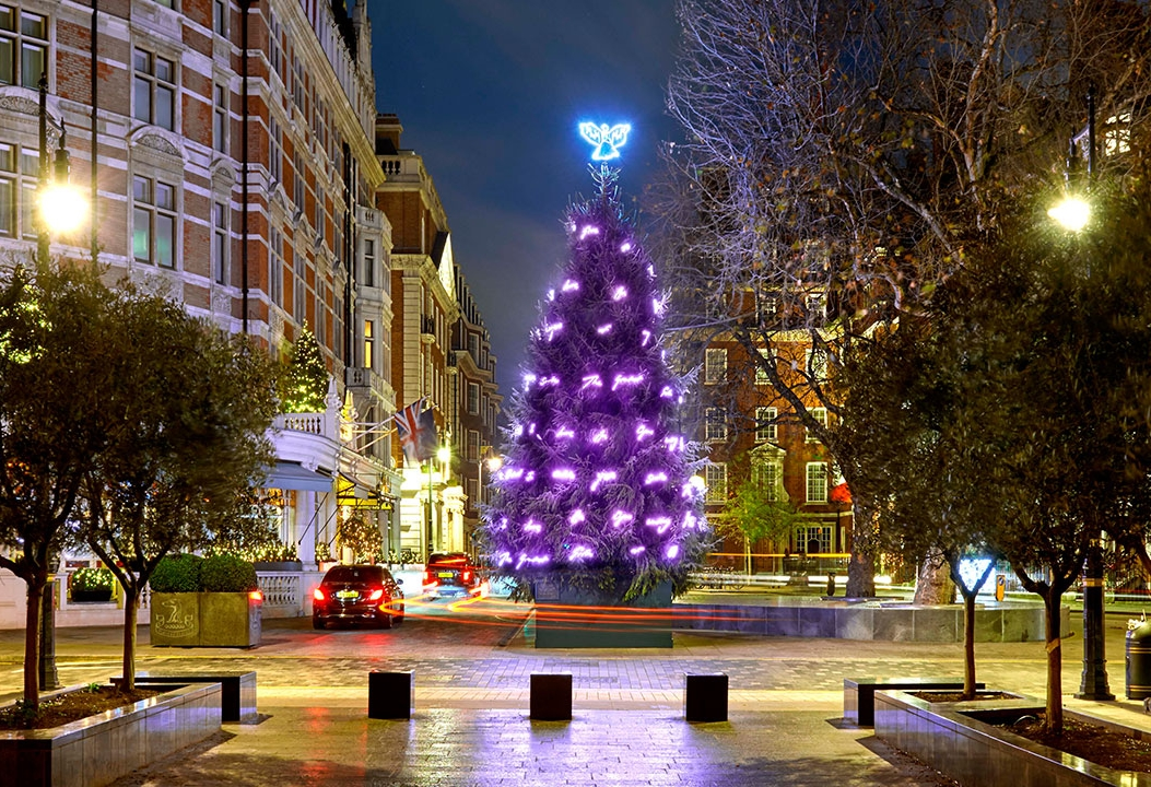 Tracey Emin's tree 'The Greatest Gift' outside the Connaught. Photo credit: The Connaught
