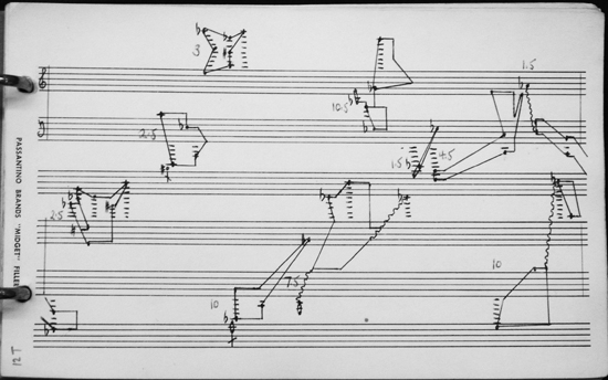 John Cage. Figure 5. Interpretation of graph 12 T from Tudor's first realization of Concert for Piano and Orchestra/Solo for Piano. Tudor converts the 10 shapes in Cage's score into specific clusters, here spread across two systems. Image reproduced courtesy of the Getty Research Institute.