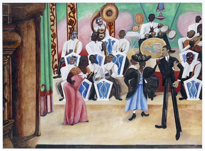 Edward Burra, The Band, 1934. (c) Estate of the artist,courtesy of Lefevre Fine Art Ltd, London and British Council Collection.