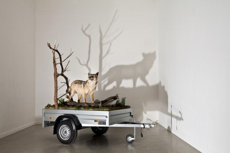 MARK DION Mobile Wilderness Unit - Wolf 2006 mixed media trailer: courtesy: the artist & Georg Kargl Fine Arts, Vienna