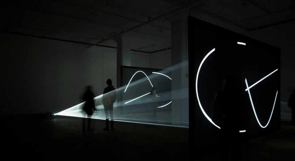 """""""Circulation Figures"""" and """"Face to Face"""" are two light installations from the British-American artist Anthony McCall. Photo: Jason Wyche, Courtesy of the Artist and Sean Kelly, New York"""