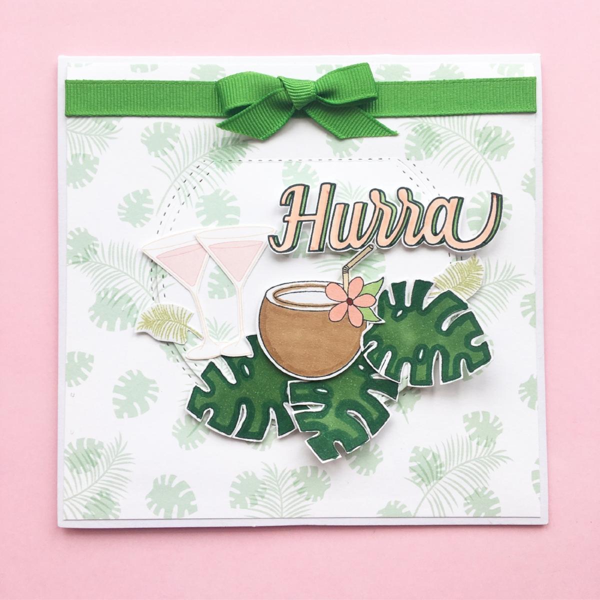 Kort 5 Mit fødselsdagskort fra Anja. Så fint. Og så havde hun ikke skrevet i, så jeg kunne bruge det til forretningen ;)   Stempler:   kokosnød med blade  ,   Hurra    Dies:   halvcirkel    Papir:   '  smagen af kølige drinks'