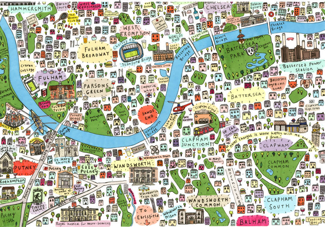 South West London Map by House of Cally: £45