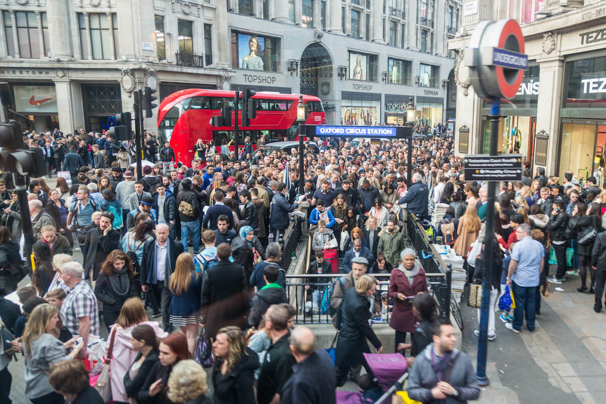 Oxford Street London during 'rush hour'