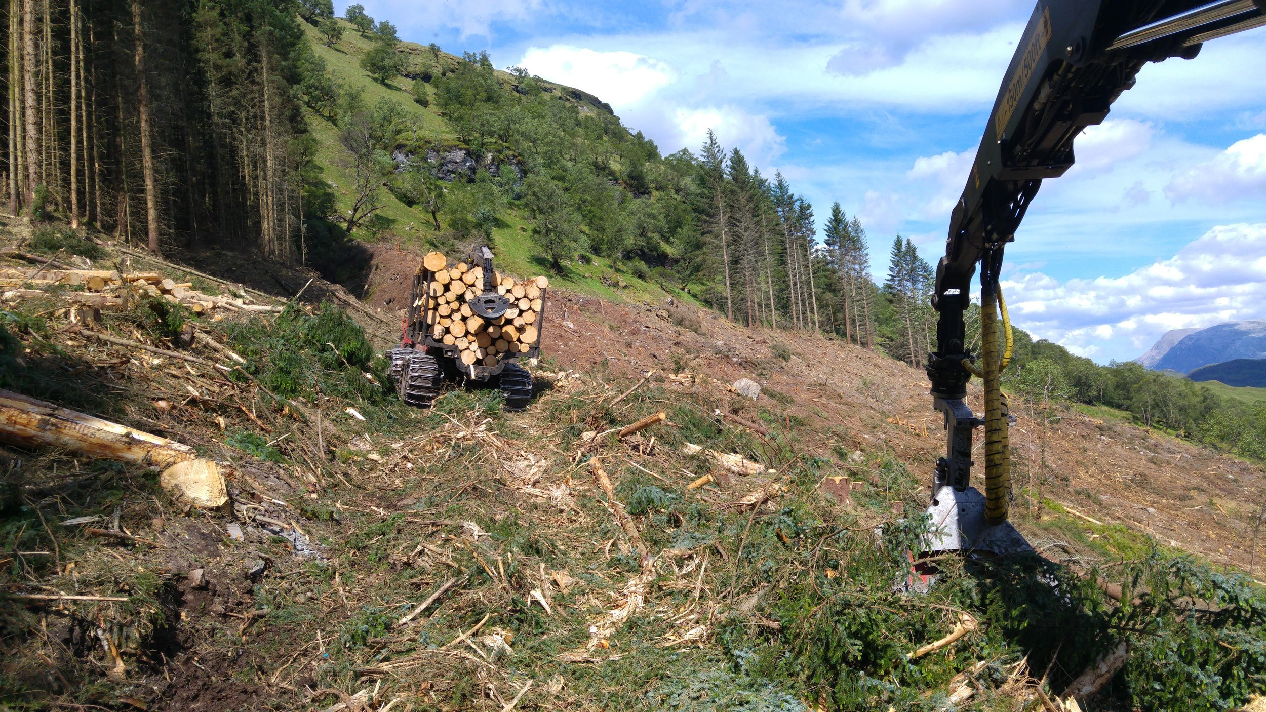 Forwarder on steep ground