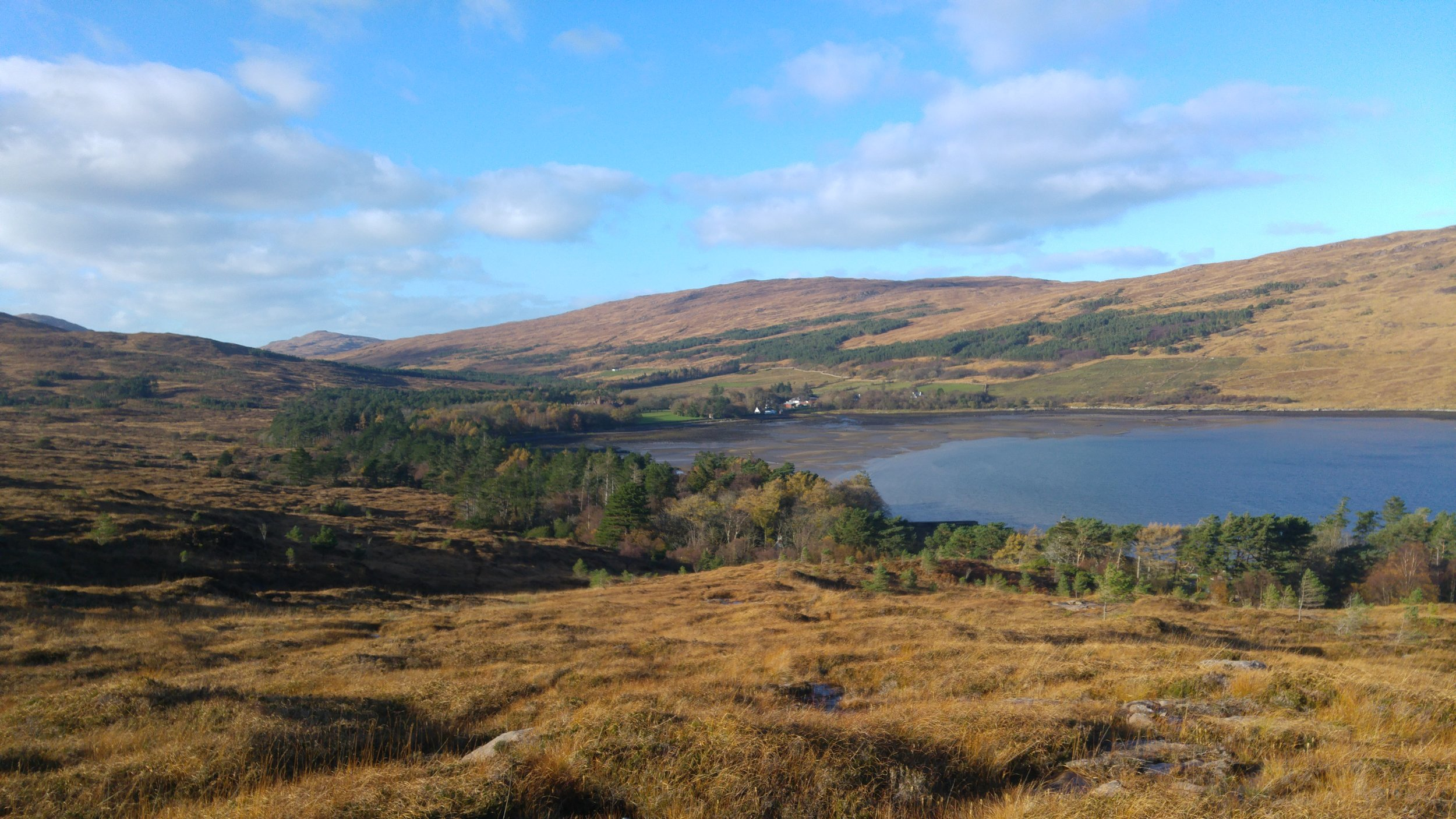 Looking back towards Kinloch from the surrounding hill ground.