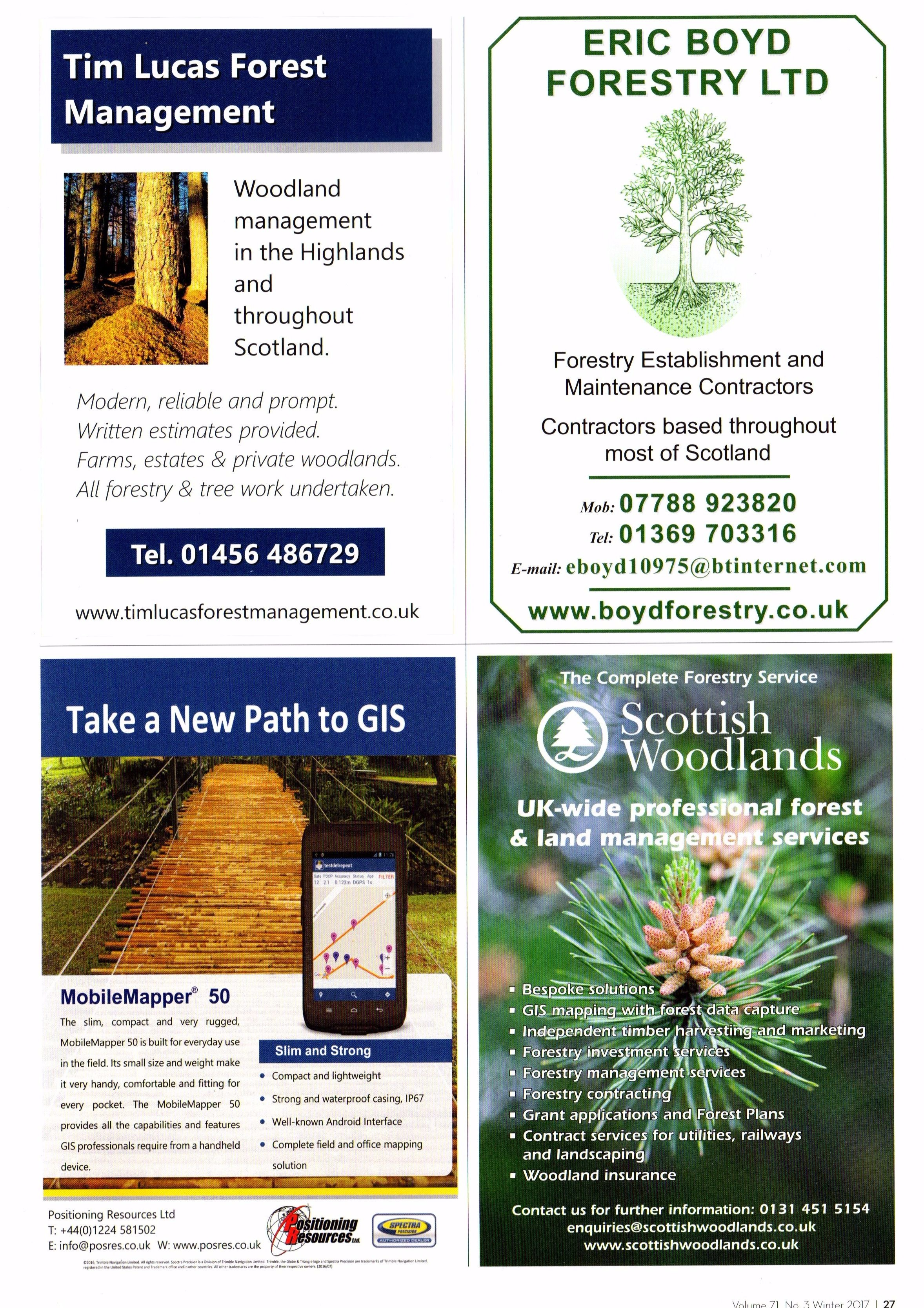 My advert in the current Scottish Forestry magazine.  I was very tempted to obscure the contact details of my competitors' adverts in this image, but I thought that would make me look churlish....