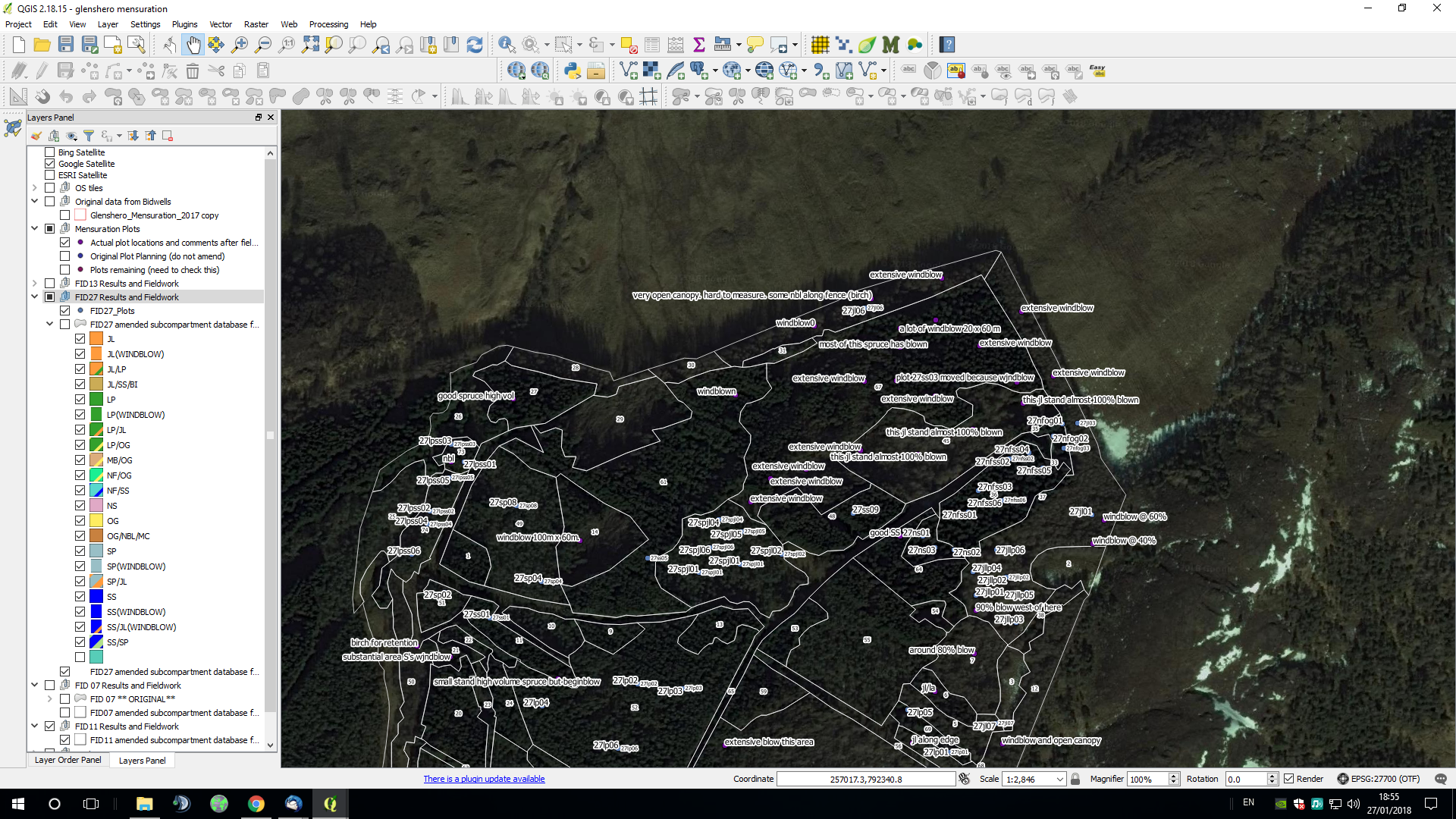 Remapping a forest with Quantum GIS, aerial imagery and field notes collected using a mobile phone app.