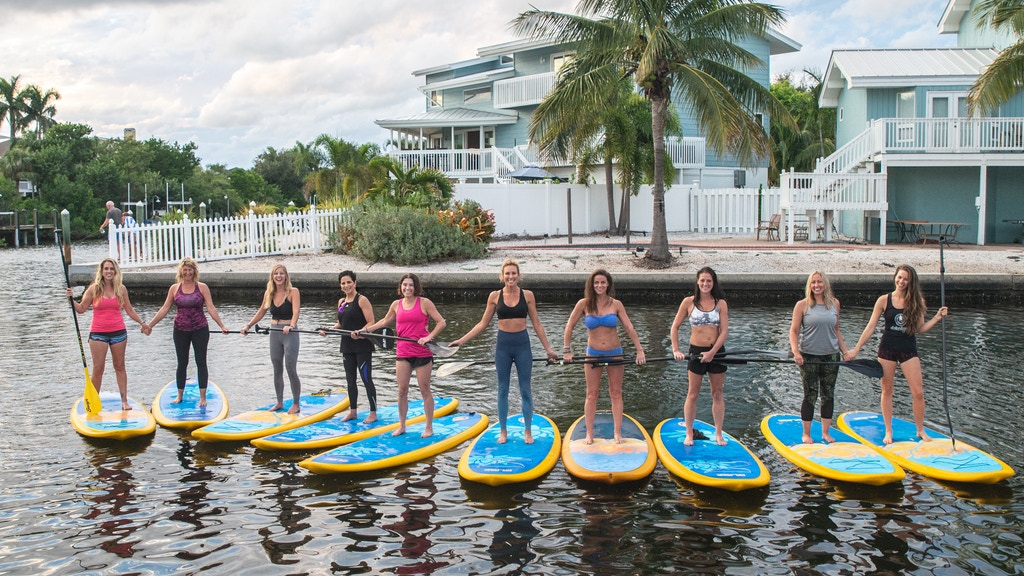 Group paddleboard excursion on Anna Maria Island.