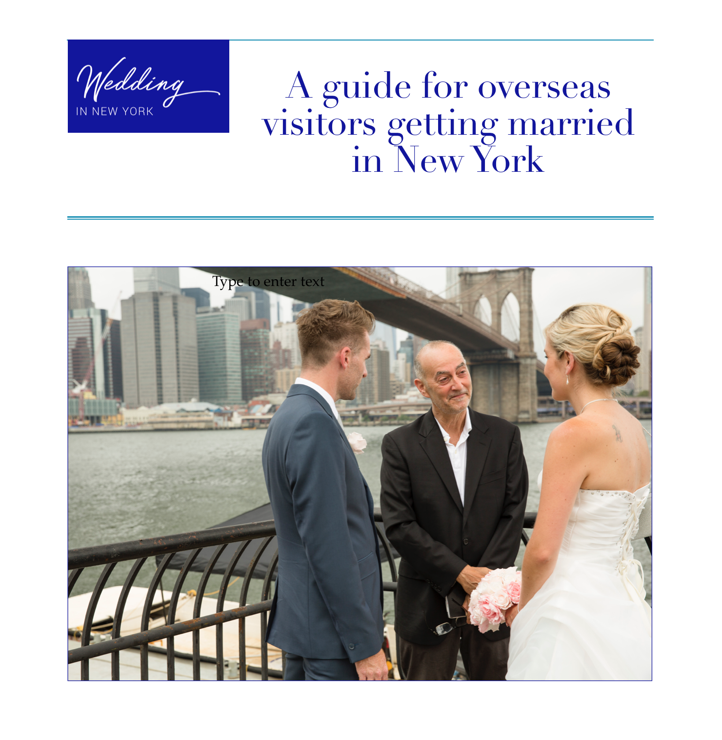 A guide for overseas visitors getting married in New York