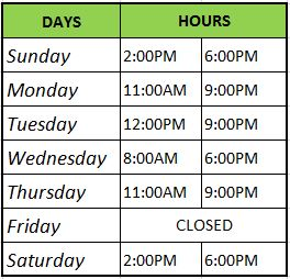 Regular Operating Hours for the Recreation Center are Monday-Friday, 8am to 5pm.