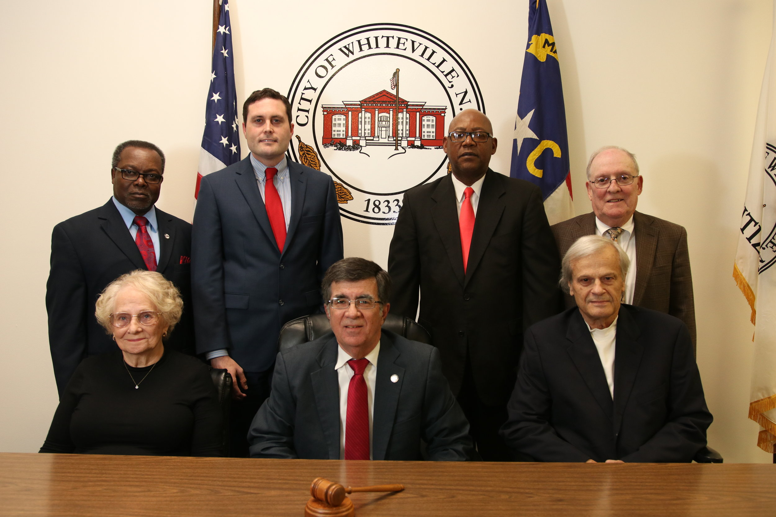 Whiteville City Council - Seated left to right: Sara Thompson, Mayor Terry Mann, Tim Blackmon. Standing left to right: Robert Leder, Justin Smitn, Jimmy Clarida and Tim Collier.